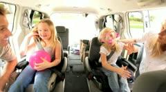 Cute Little Girls and Parents Beach Car Trip Stock Footage