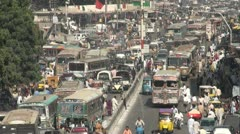 Busy traffic in colorful street in Karachi, Pakistan - stock footage