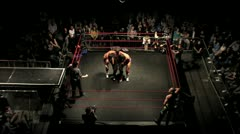 Aerial Professional Wrestling Tag Match Sequence 2 HD Stock Footage