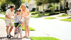 Caucasian Child Practicing on her Bicycle Stock Footage