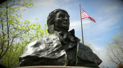Francis Scott Key Park | Statue / bust of famous composer Stock Footage