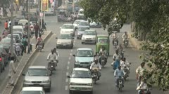 Busy road in the centre of Lahore - stock footage