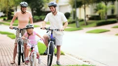 Caucasian Family Healthy Bicycle Ride Together  Stock Footage