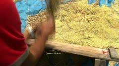Threshing rice by hand - stock footage