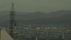City, fog, electric tower Stock Footage