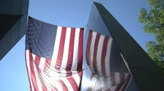 American Flag waves over Florida Vietnam Memorial Stock Footage