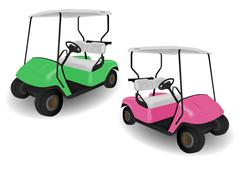 two golf cart buggies illustrations - stock illustration