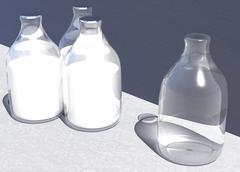 four british style glass milk bottles some full one empty bottle - stock illustration
