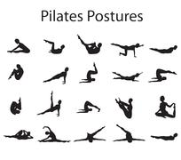 20 pilates or yoga postures positions illustration - stock illustration