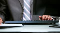 Hands Using Office Keyboard  Stock Footage