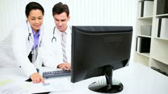 Hospital Doctors Computer Patient Records  Stock Footage