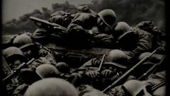 American GIs Under Fire  (WWII) - crossing the Rhine Stock Footage