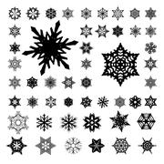 Snowflakes silhouette on white Stock Illustration