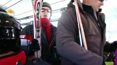 Skiers exit the navette shuttle bus  12614 Stock Footage