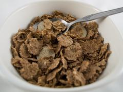 Bowl of credit crunch breakfast cereal Stock Photos