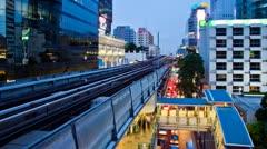 Timelapse - Bangkok Aerial Metro (BTS) at Night Stock Footage