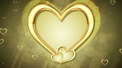 Gold Hearts Background 01 HD Stock Footage