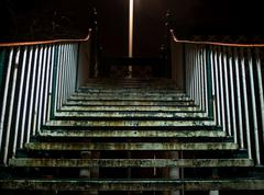 Dirty stairway steps at night Stock Photos