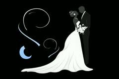 Bride & Groom Motion Design Element 02 Stock Footage