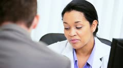 Female Medical Consultant Meeting Business Advisor  Stock Footage