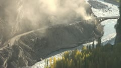 Landslide blocks the Karakoram Highway Stock Footage