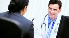 Hispanic Medical Consultant Meeting Financial Advisor  - stock footage