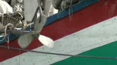 Closeup of leaving aid ship in Northern Pakistan Stock Footage