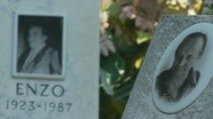 Rack focus 'Enzo' cemetery Stock Footage