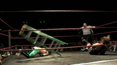 Pro Wrestling - Dropkick off Ladder HD Stock Footage