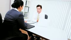 Businesswoman Meeting Hispanic Lawyer  - stock footage