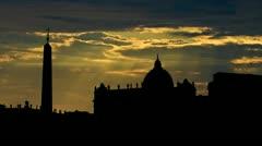 Italy Vatican City Piazza San Pietro sunbeams Stock Footage