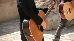 Play acoustic guitar. Concert in the amphitheater Stock Footage