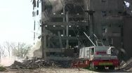 Stock Video Footage of Wrecking Ball Tearing Down Building