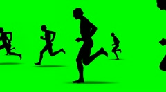 SILHOUETTES OF RUNNING MEN Stock Footage