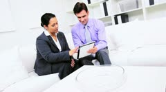 Business Executive Informal Working with Hispanic Assistant  Stock Footage