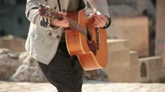 Play acoustic guitar. Concert in the amphitheater - stock footage