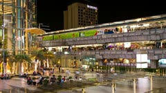 Zooming Timelapse - Siam Paragon and Siam BTS station, Bangkok Stock Footage