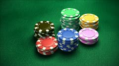 Casino 6 of chips Stock Footage