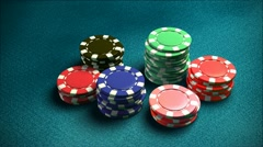 Casino 6 of chips blue table 2 Stock Footage