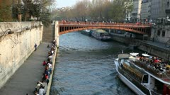 Tourboat on the Seine Stock Footage