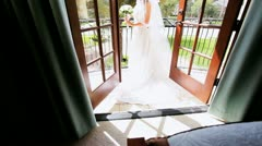 Bride in Wedding Dress Home  Stock Footage