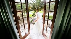 Traditional Bride Posing Luxury Home Wedding Photographs  Stock Footage