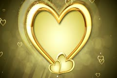 Gold Hearts Background 02 Widescreen Stock Footage