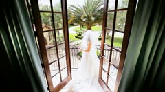 Portrait Caucasian Bride White Wedding Dress  Stock Footage