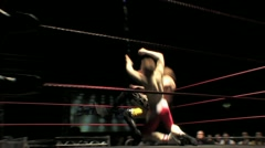 Pro Wrestling Match - Ropes Knockdown HD Stock Footage