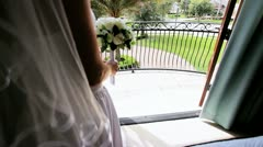 Beautiful Bride in Wedding Dress Home  Stock Footage