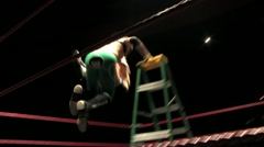 Pro Wrestling Move - Jawbreaker off Top of Ladder HD - stock footage