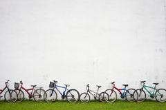 Bicycles near the wall - stock photo