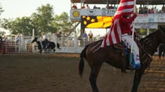 Stock Footage - Parade of Horse and Flags - Rodeo - July 4th Stock Footage