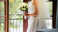 Caucasian Bride Wedding Posy Dress Veil  Stock Footage